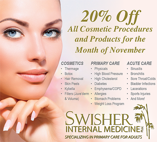 Swisher Cosmetic Procedures and Products 20% Off in November
